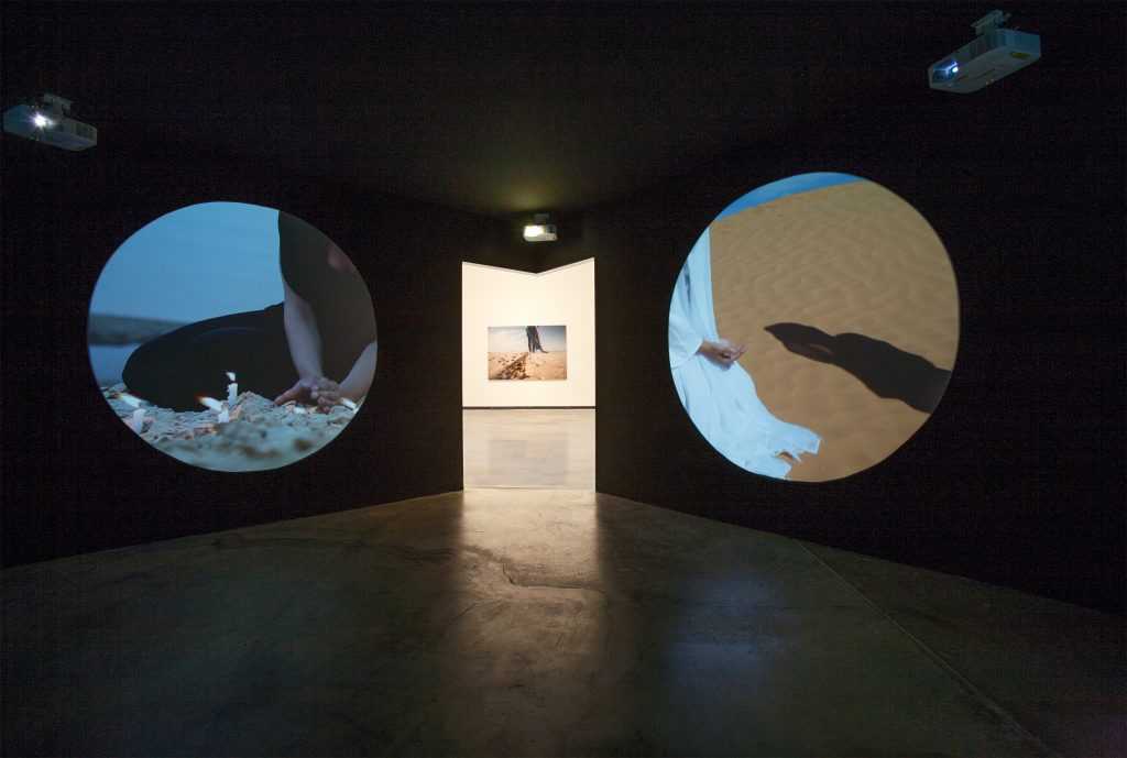 Exhibition view with works from Sama Alshaibi, photo by Hans Schroeder