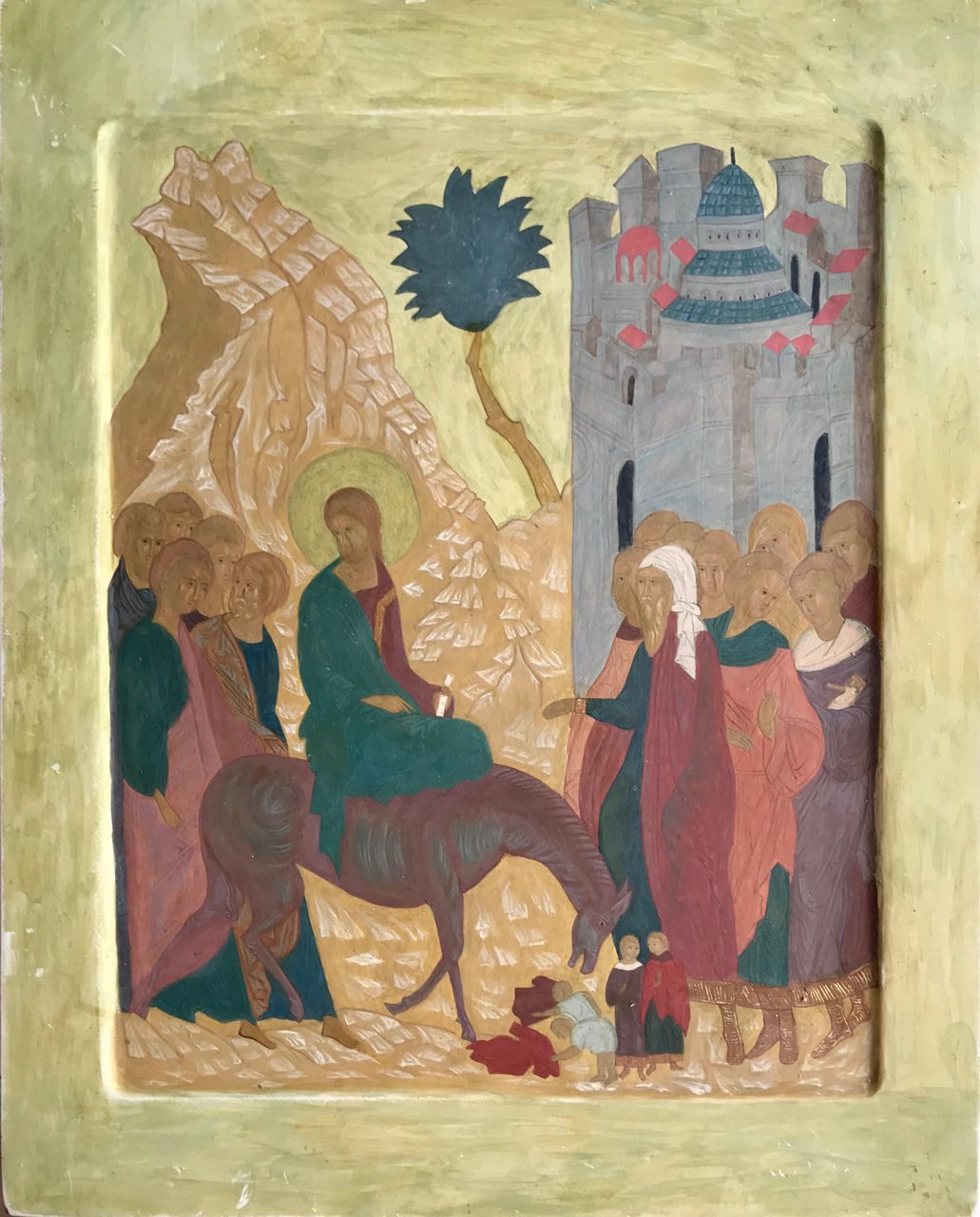Entry of the Lord into Jerusalem, (process of work), egg tempera, wood gesso, canvas, 50x40, 2017.jpg
