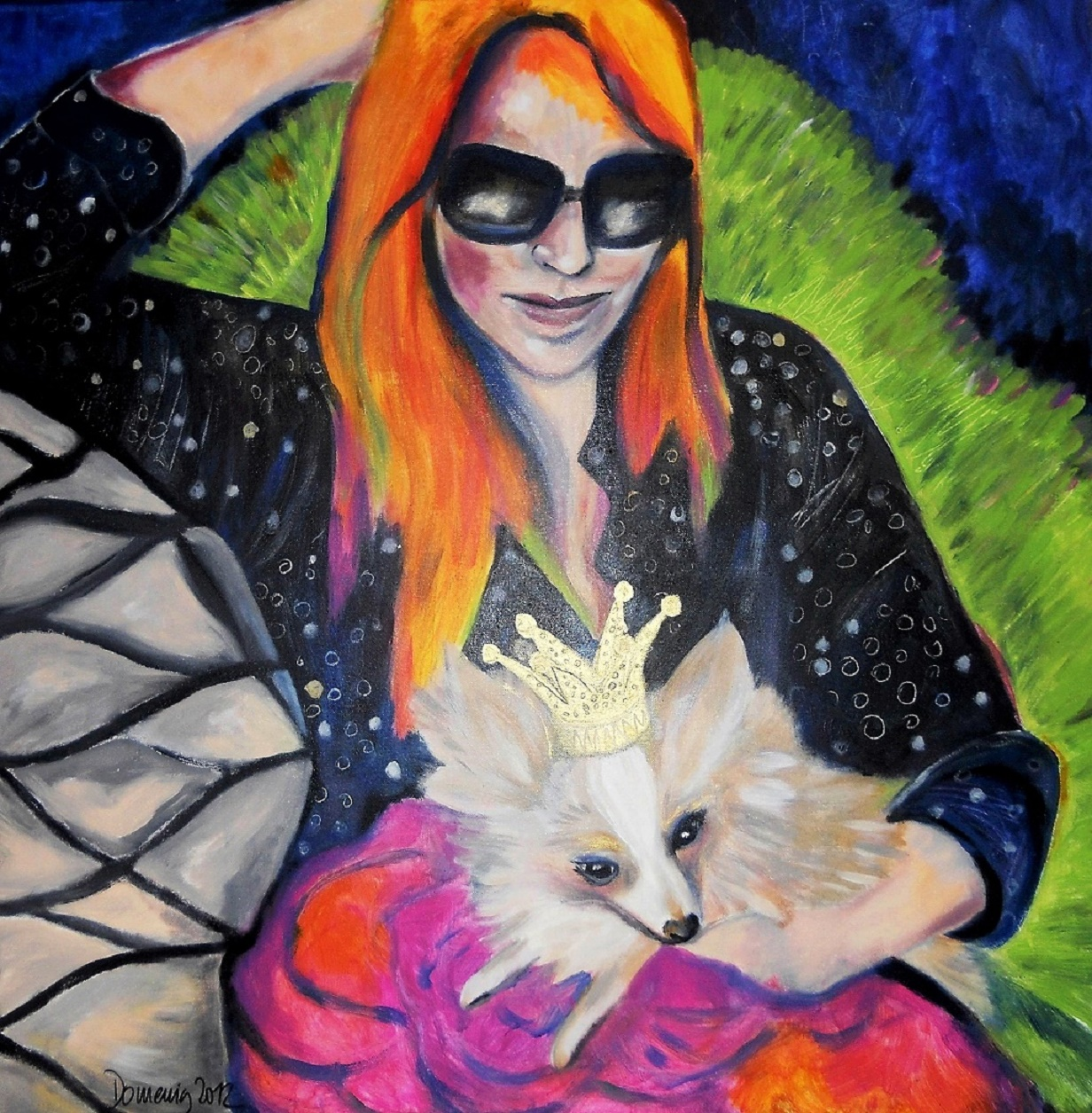 Gabi Domenig.Vanessa and her Chihuahua princess. 80x80cm.jpg