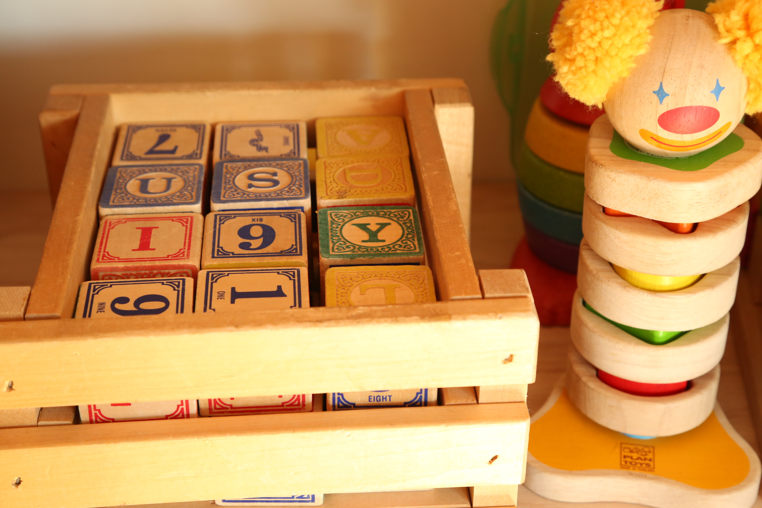 Finally, some Montessori activities.  Some of their toys - the blocks I found in dark corner on the floor for $8 at an antique mall in Tucson (the Buffalo place if you're a local there...)  Having toddlers with you ensures you're always aware of what's on the floor... The stacking puzzles are both from Aunt Stacy!  G and I identify the numbers, letter, and animals on the blocks.  C and I do crayon rubbings of the letters or spell words with them during story time.  This week, we're going to take small objects and select the letter each object starts with, an activity he was fond of at Montessori school.