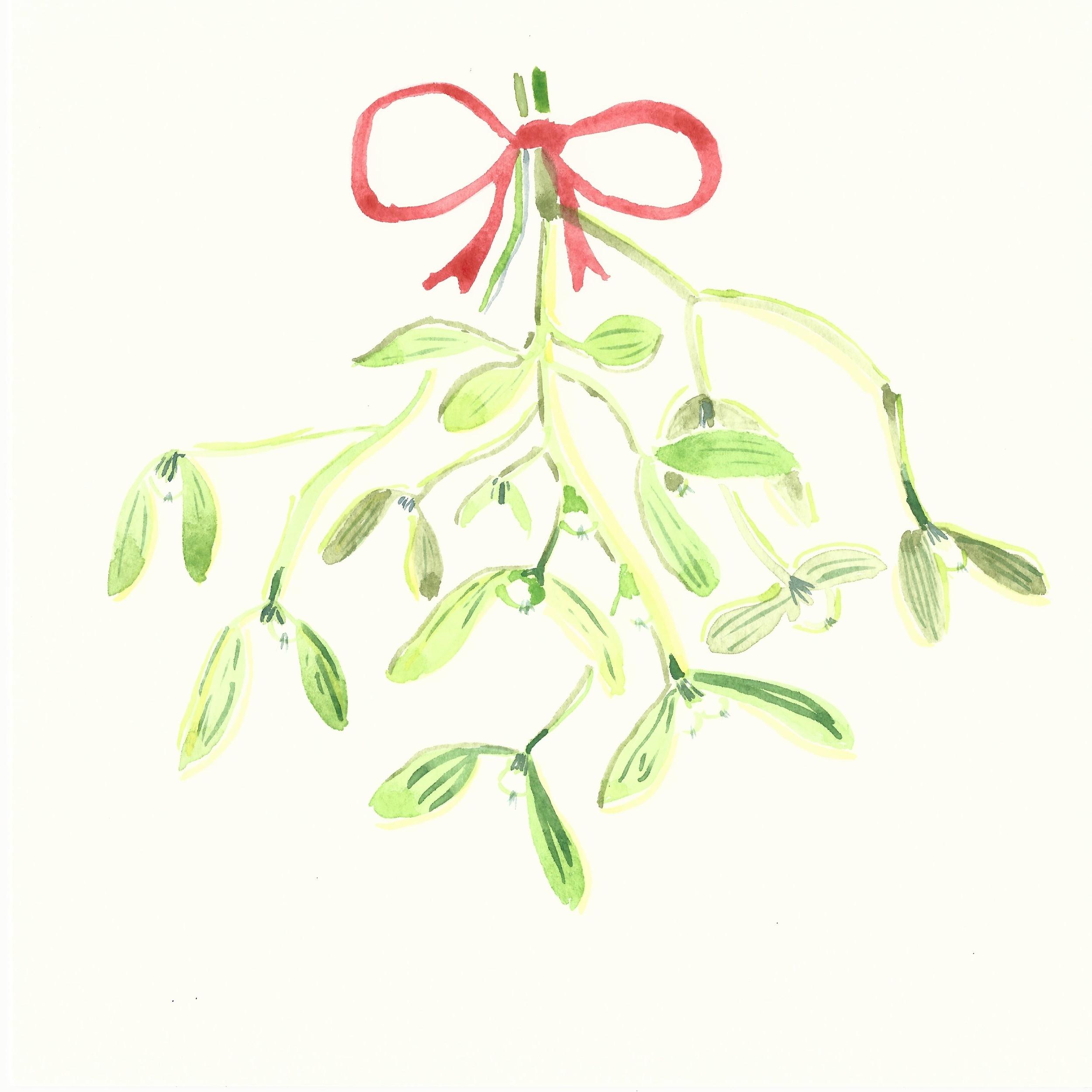 Watercolor Misteltoe