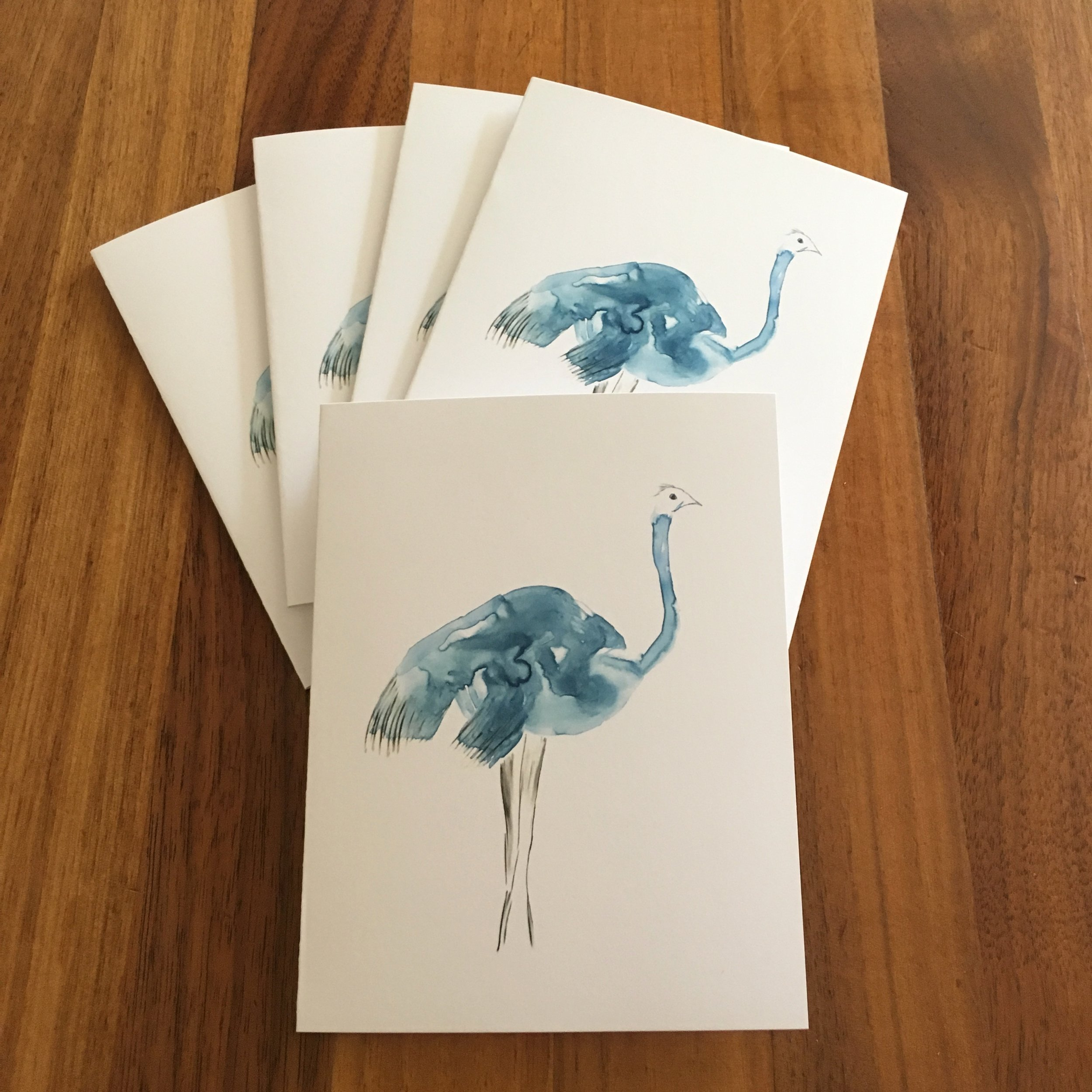 Set of Five Cards: Blue Ostrich