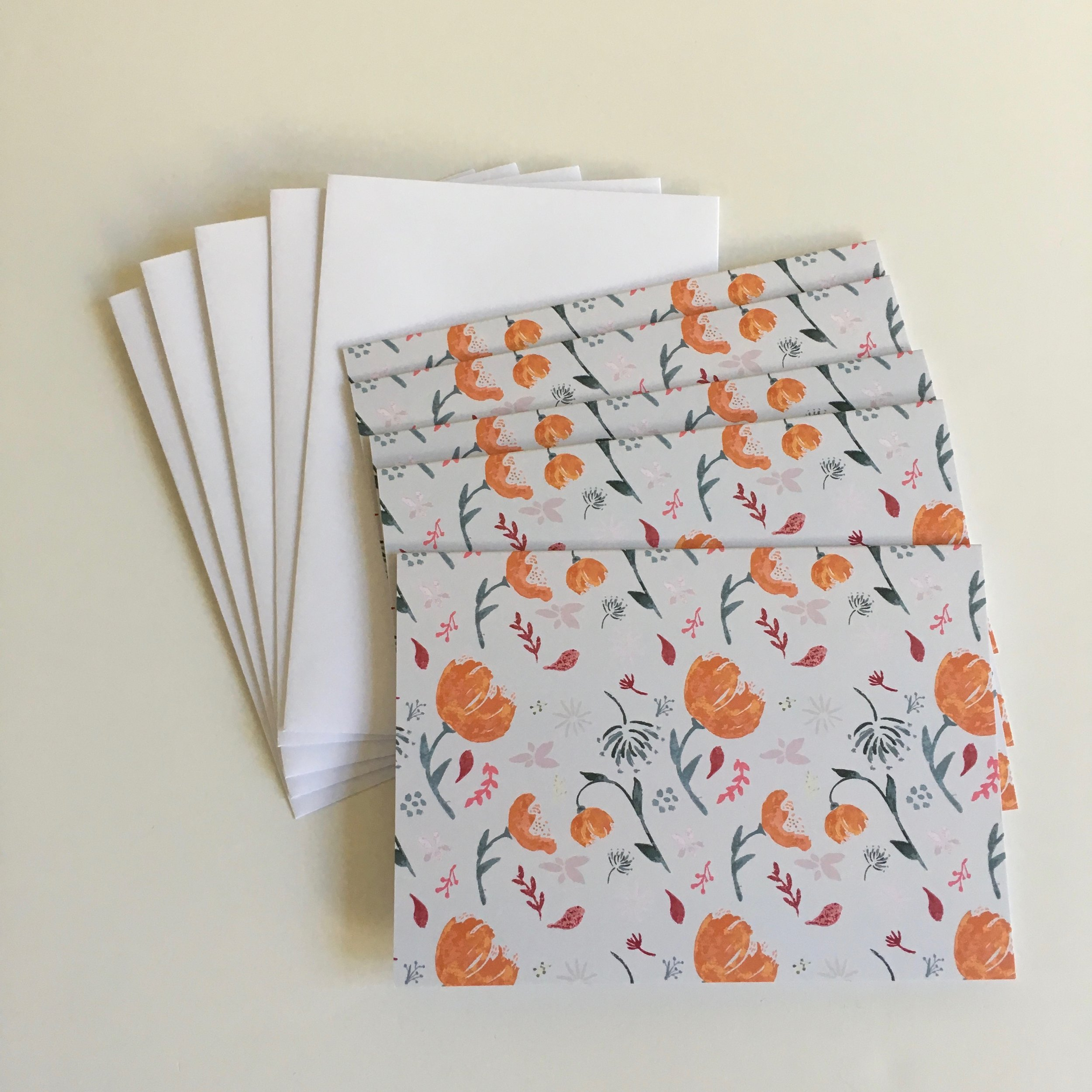 Watercolor cards - orange