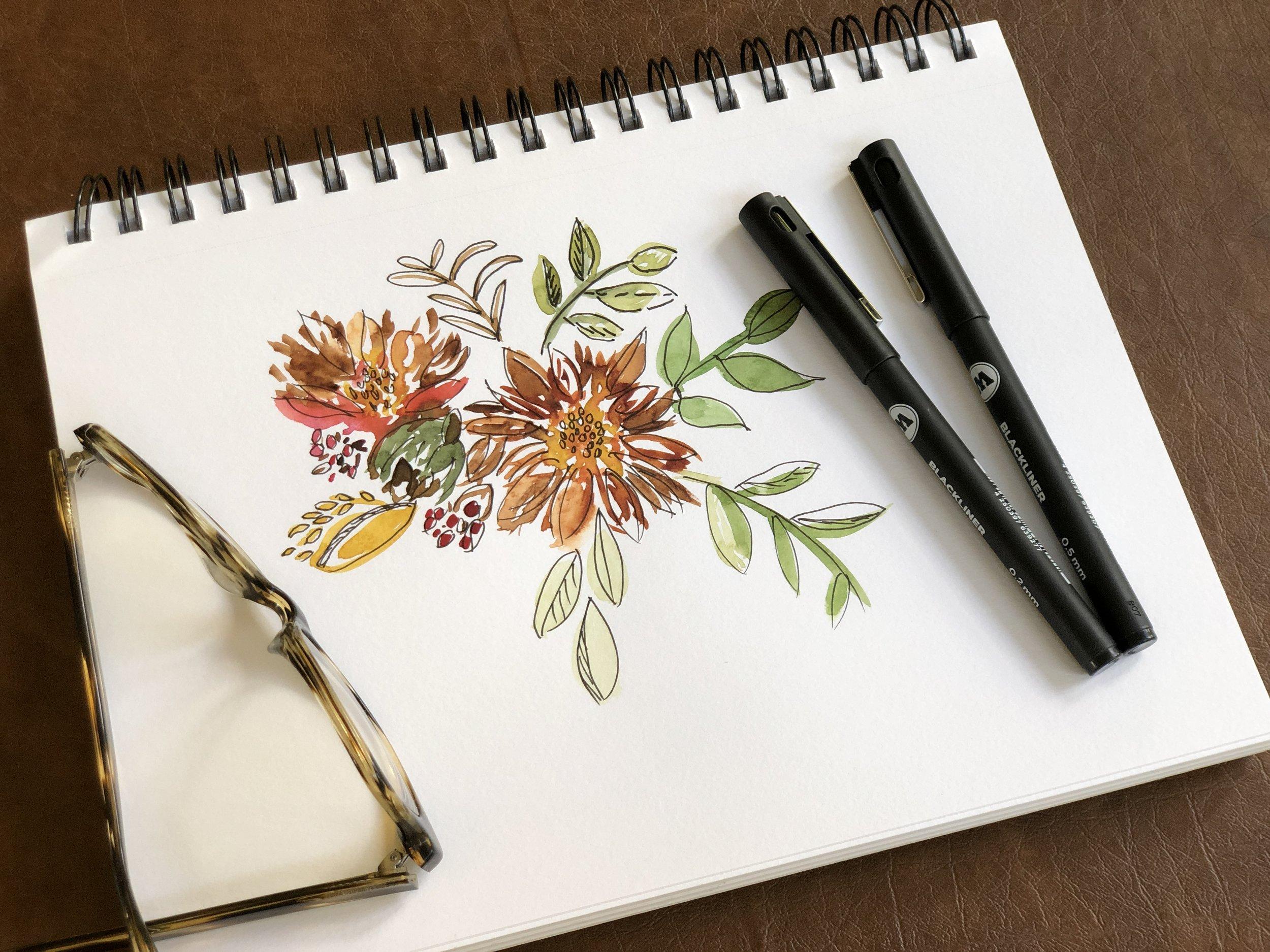 Watercolor & Ink Floral Bouquet