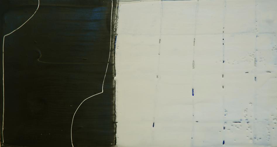 Film Noir- encaustic on paper, 9.5 x 15 inches