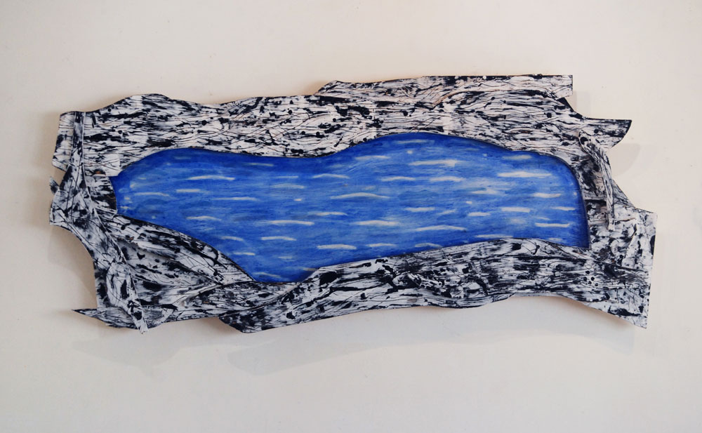 Inland Sea, enacustic ,oil on plywood, 34 x 86 x 4 inches