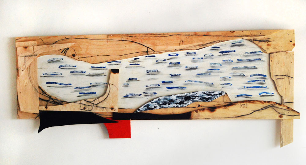 Inner harbour, encaustic,oil,charcole on plywood,34 x 88 x 3 inches