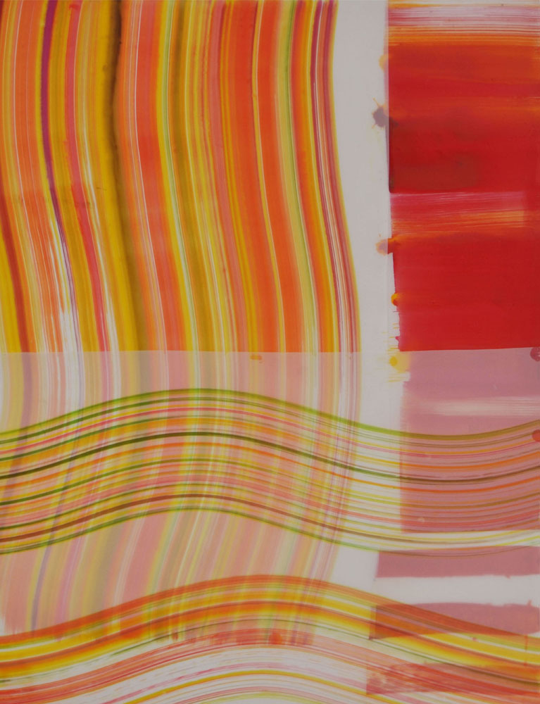Wave lengths-  acrylic ink on mylar, 45 x 35 inches