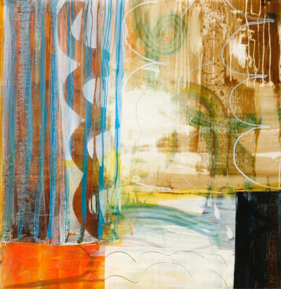 Weather Patterns #1-  acrylic and acrylic ink on mylar,  43 x 42 in.