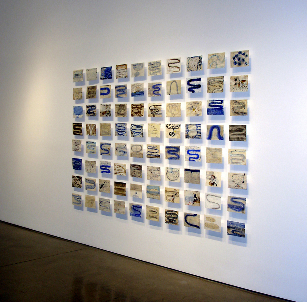 Blue Rive series, encaustic on paper, 80 pieces 4 x 7 inches, grid 76 x 90 inches
