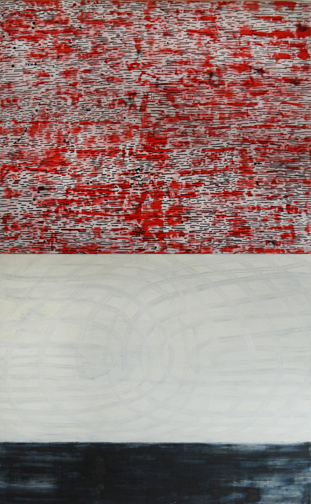 Red in the morning- encaustic and oil on wood panel , 60 x 98 inches