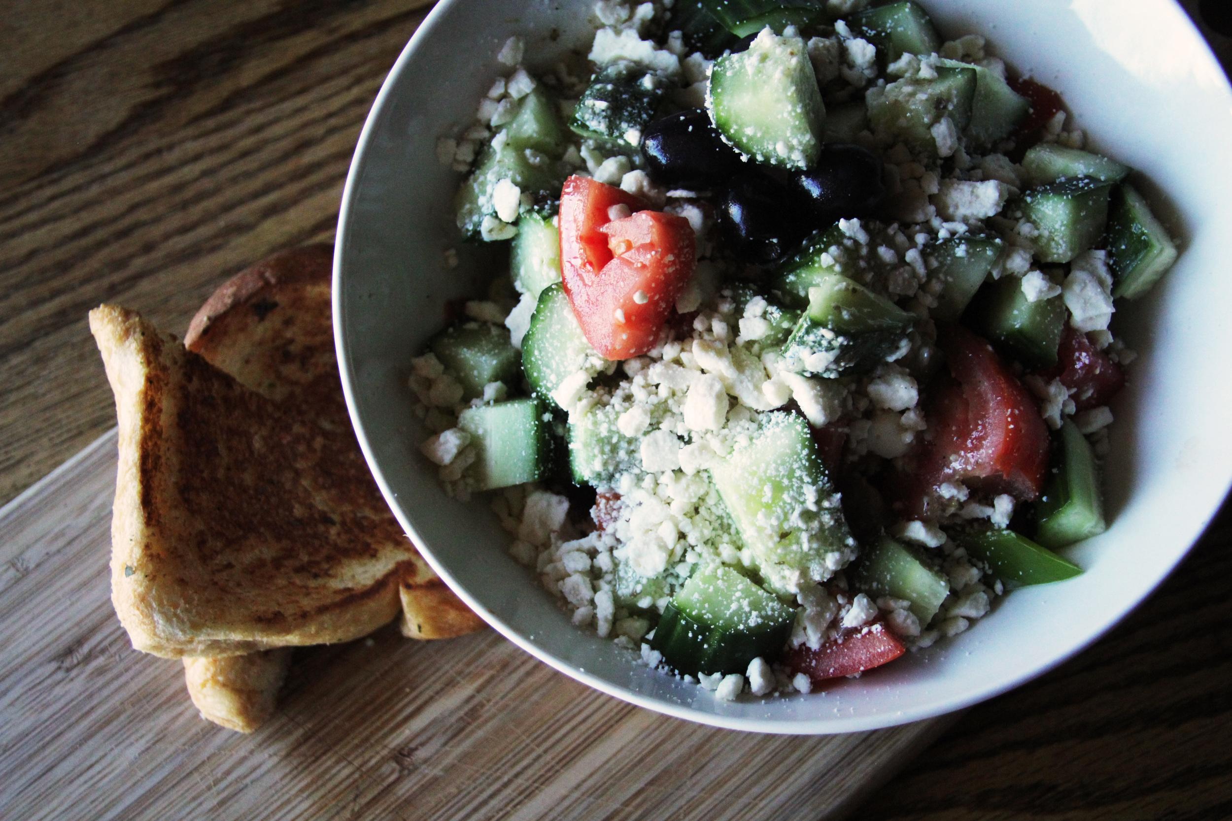Greek Salad and Garlic Toast
