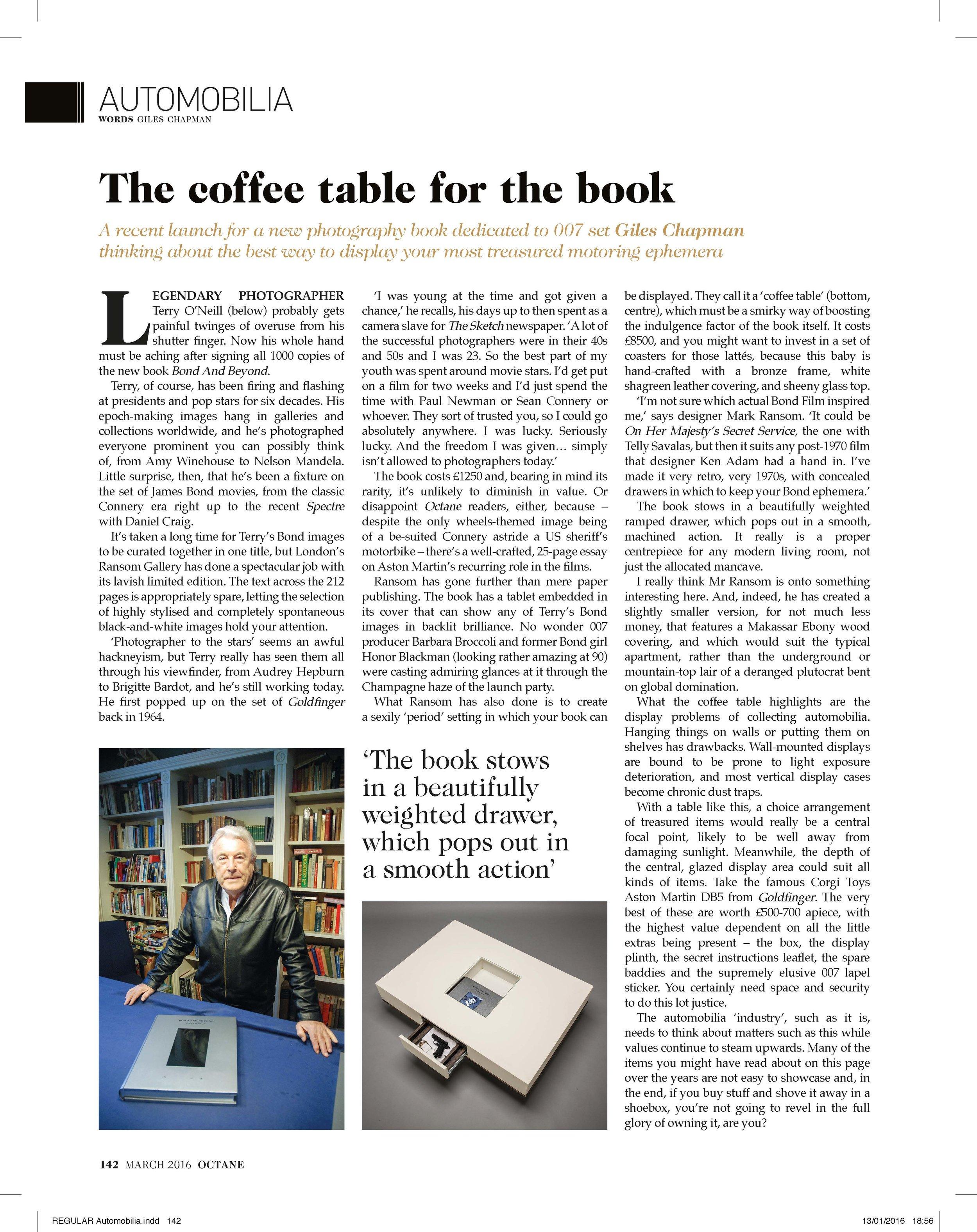 Automobilia - BOND & BEYOND Book & Coffee Table at Ransom Art