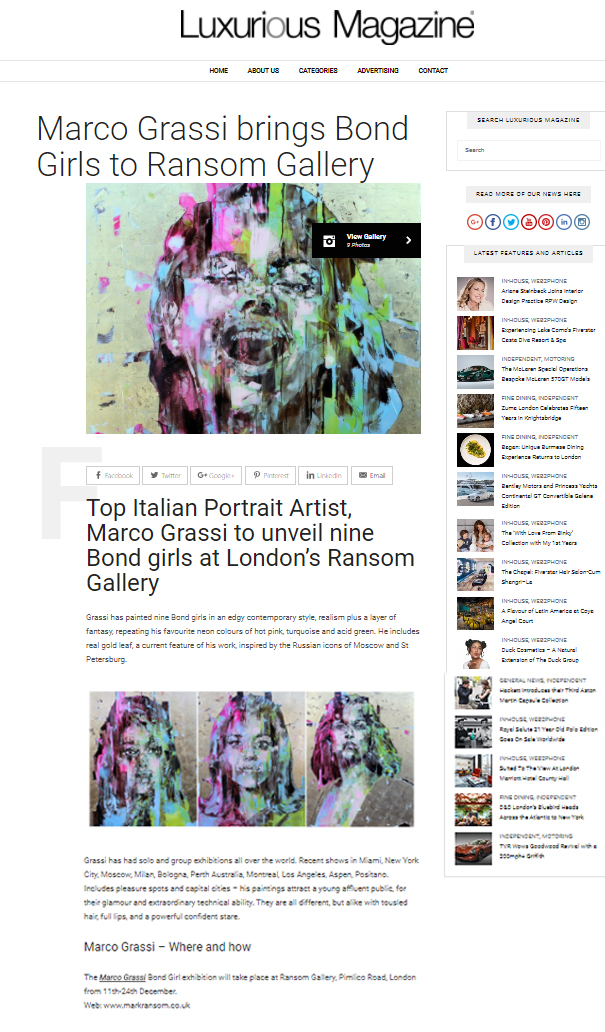 Luxurious Magazine - 'Bond Girls' by Marco Grassi at Ransom Art
