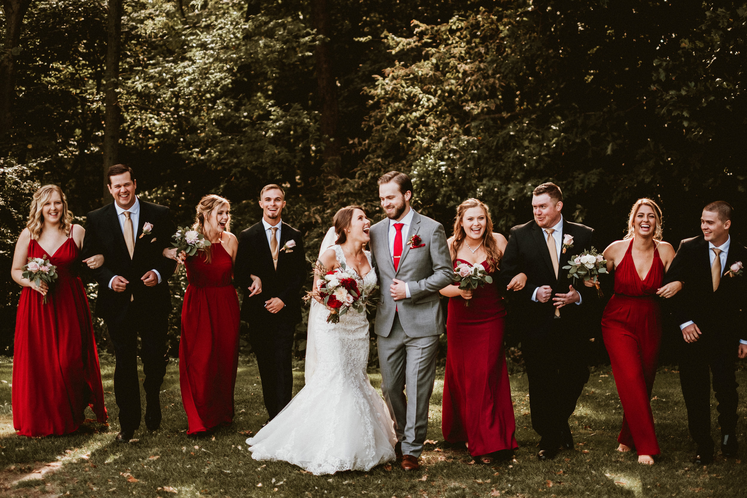 Bridal Party Walking Fall Wedding Burgundy.jpg
