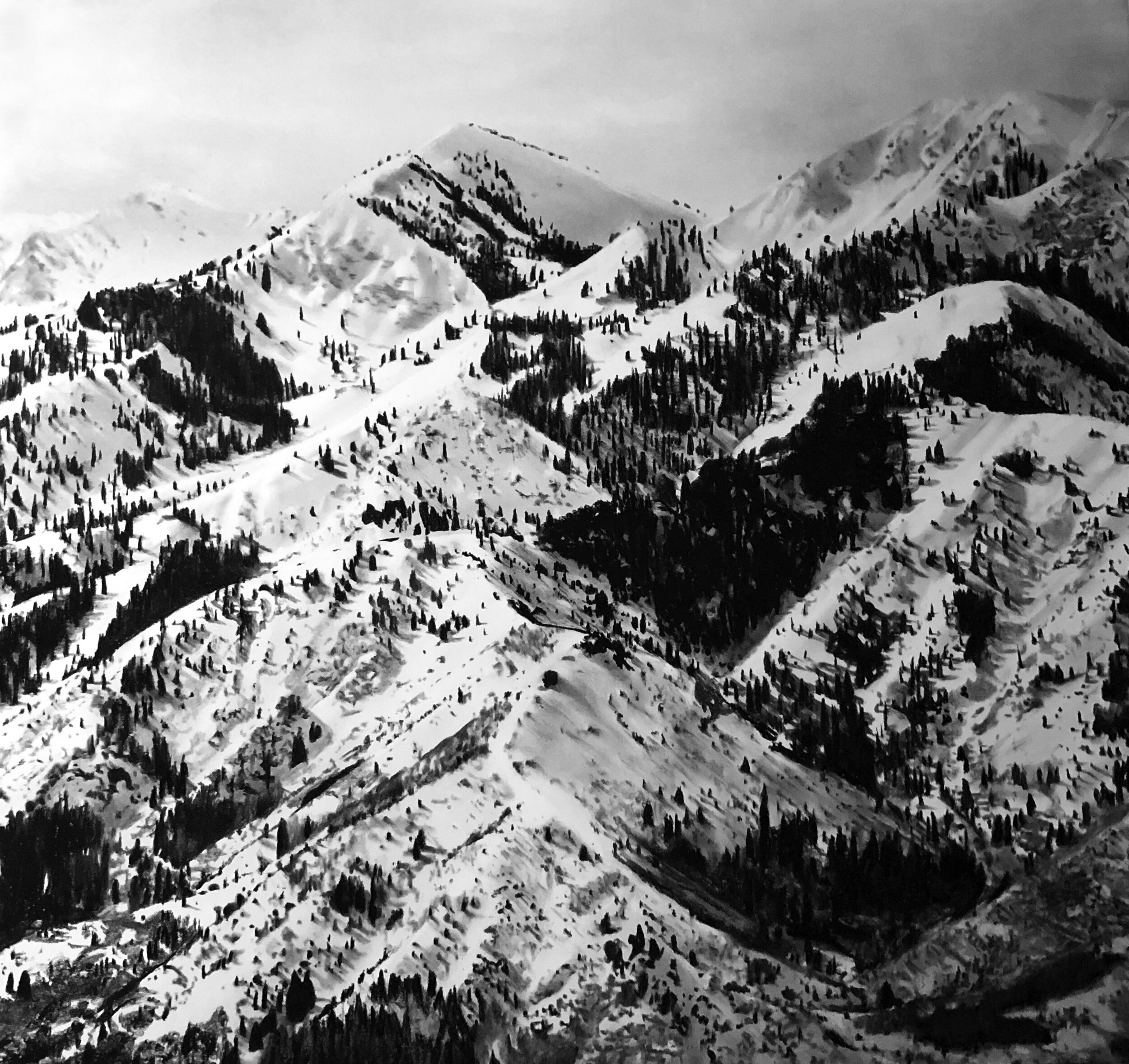 "Viewpoint: From Strawberry Peak looking Southwest. 40"" x 52"" Charcoal on Paper"