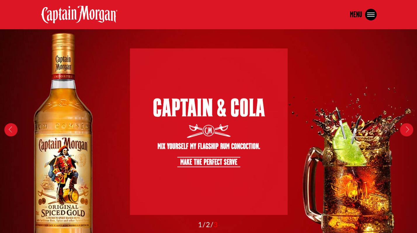 Captain Morgan website - Homepage carousel