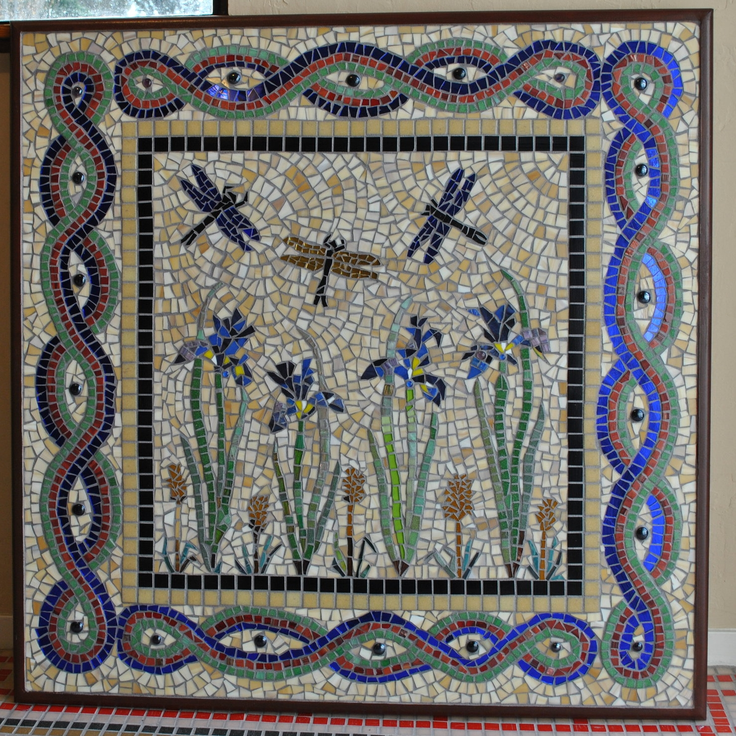 DRAGONFLIES WITH IRIS MOSAIC 3' x 3'