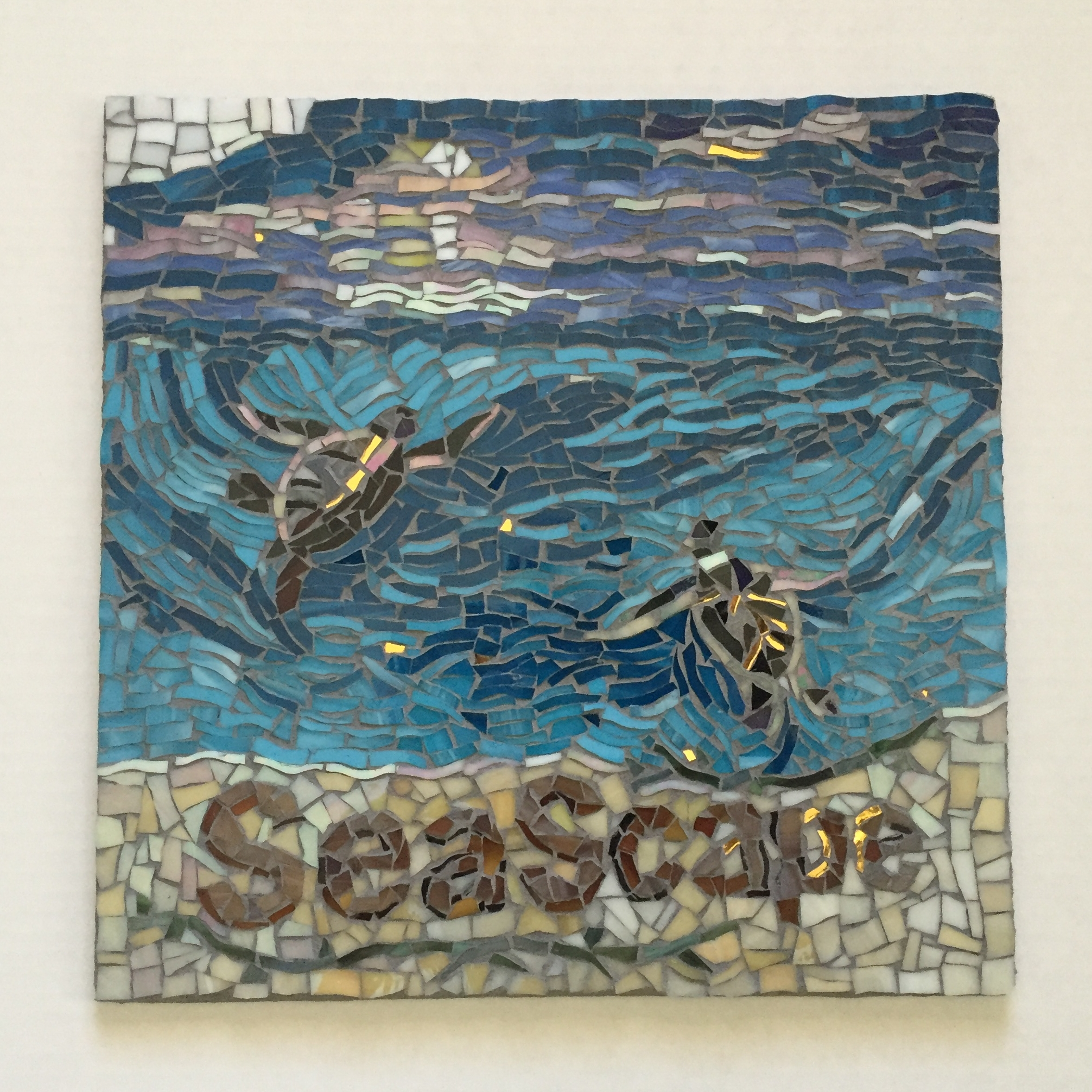 SEASCAPE TURTLE SHOWER MOSAIC