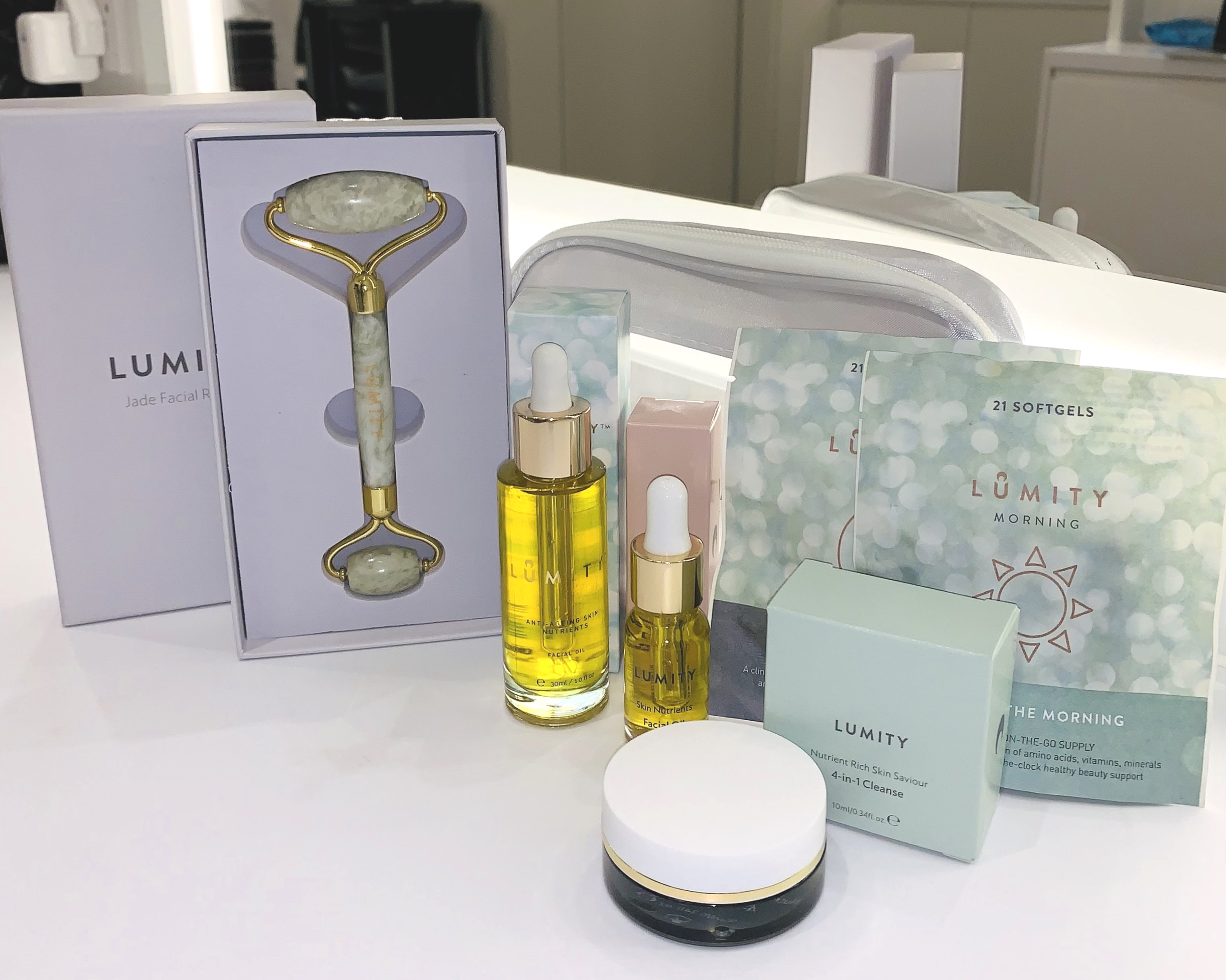 Lumity Skin Nutrients Facial Oil and Travel Collection & Jade Roller