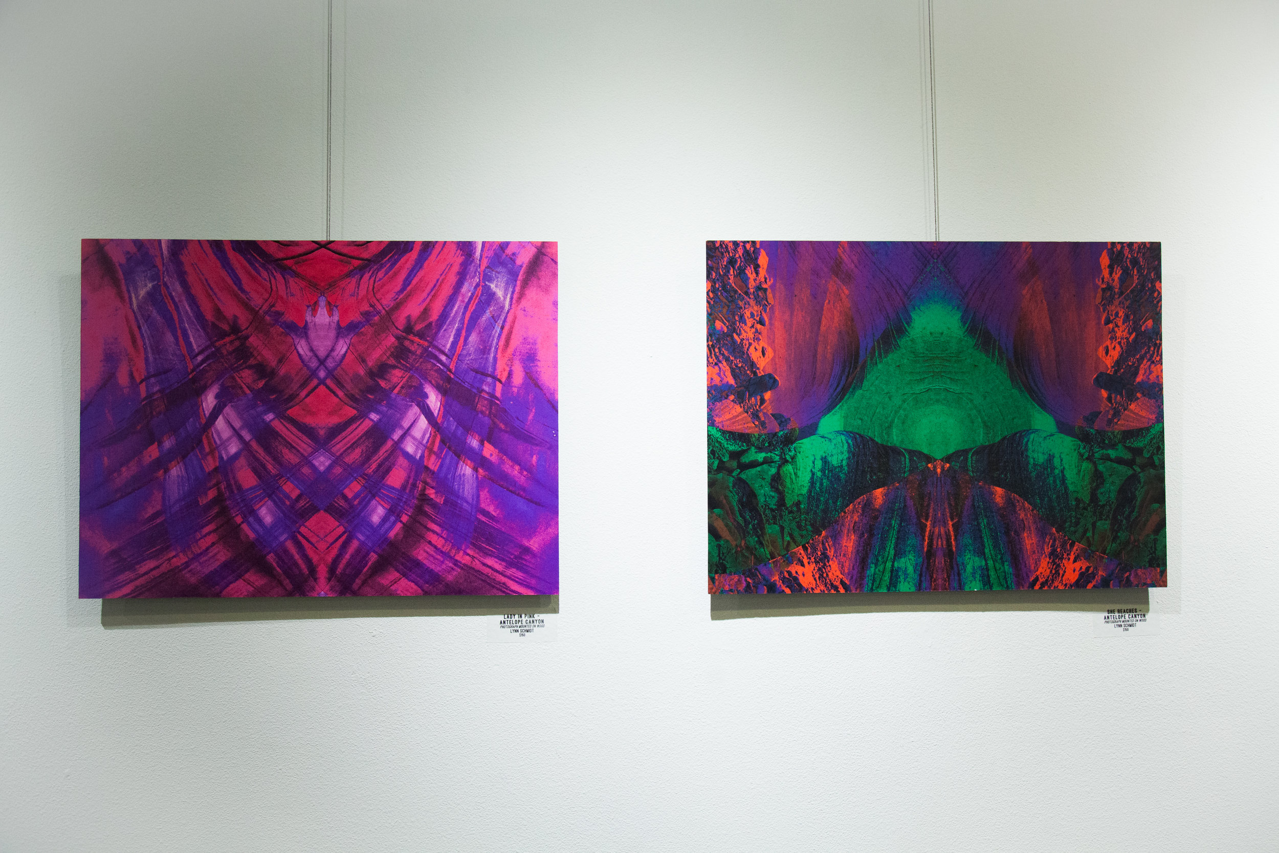 Lady In Pink - Antelope Canyon  (Left) / She Reaches Antelope Canyon  (Right)  Photographs mounted on wood by Lynn Schmidt
