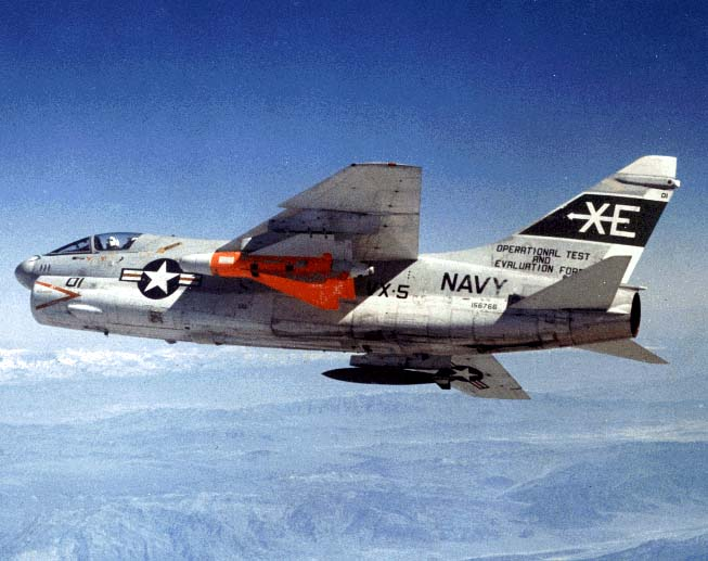 A-7 Corsair of tenant OPTEVFOR squadron VX-5 carrying Walleye II (AGM-62) ERDL (extended-range data link); the Walleye TV-guided glide weapon provides outstanding accuracy, and its 2,000-pound linear-shaped-charge warhead is a match for almost any target.
