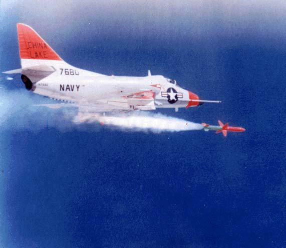 A-4C Skyhawk firing AGM-45 Shrike antiradar missile on China Lake range; Shrike was developed following many of the same principles that guided Sidewinder development: simplicity, reliability, maintainability, producibility, improvability.