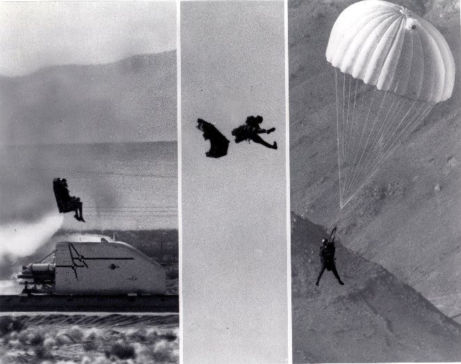 SNORT supersonic-track test of the Rocket-Assisted Personnel-Ejection Catapult (RAPEC) ejection seat; an outgrowth of in-house propulsion expertise, NOTS designed and developed RAPEC in the mid- and late-'50s, beginning a lasting relationship between China Lake and aircrew safety; RAPEC was highly successful in the Fleet.