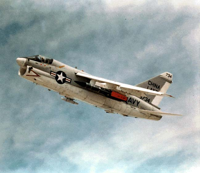 Supersonic Tactical Missile (STM) on A-7 Corsair; the STM program was a demonstration of advanced technologies for a supersonic air-to-surface missile; STM included a China Lake/industry cooperatively developed integral-rocket-ramjet propulsion system (ALVRJ) and ATIGS/MICRAD guidance, derived from China Lake-lead technology initiatives.