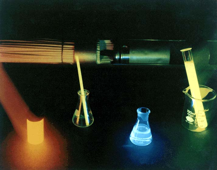 Chemiluminescent (chemical-light) compounds and devices; China Lake began research in this area in 1961, improving a commercial compound and developing new ones; Center-developed chemlights first used in Vietnam have become the standard for military and civilian use and are available in various colors and spectra.