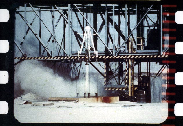 China Lake's Soft-Landing Vehicle (SLV) during control testing, 1961 (from data film); another outgrowth of NOTS' unparalleled propulsion expertise, the SLV was an early prototype moon-lander that demonstrated advanced hypergolic-fuel, demand-thust, and autonomous-control technologies; this unit committed suicide following the final test of the program.