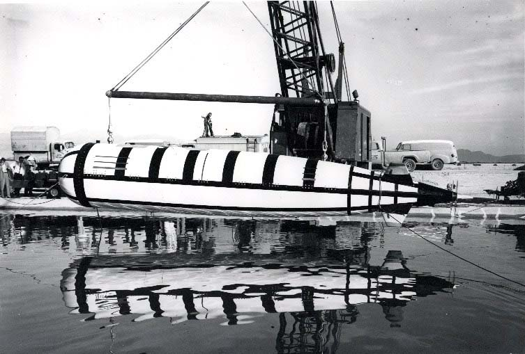 """Moray test vehicle (TV-1A) during testing at China Lake; the Moray concept was for a two-man, deep-diving, fast submarine that would serve as an undersea """"fighter plane""""; the Moray TV was designed and built at China Lake, and manned testing was later conducted at sea; several propulsion and materials options were investigated."""