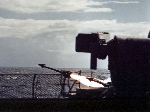 Sea Chaparral firing; China Lake modified the Army's Chaparral (Navy AIM-9D Sidewinder modified for surface-launch) system for shipboard use and fielded it in record time in 1972 in but one example of the quick-response capability of a full-spectrum in-house laboratory.