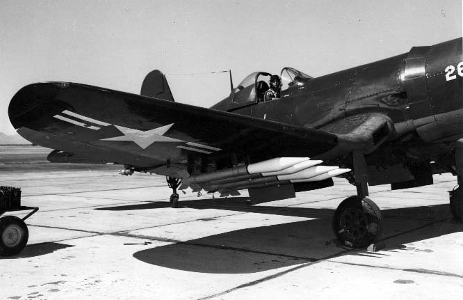F4U Corsair loaded with 6.5-Inch Antitank Aircraft Rocket, Ram; responding to the urgent need to defeat new Soviet armour, China Lake designed, developed, tested, documented, pilot-produced, and delivered Ram to the operators in Korea in one month in 1950.