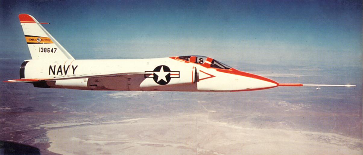 Grumman F11F-1F Super Tiger, Bu. No. 138647, in flight near Edwards AFB, California. (U.S. Navy)  Picture Source