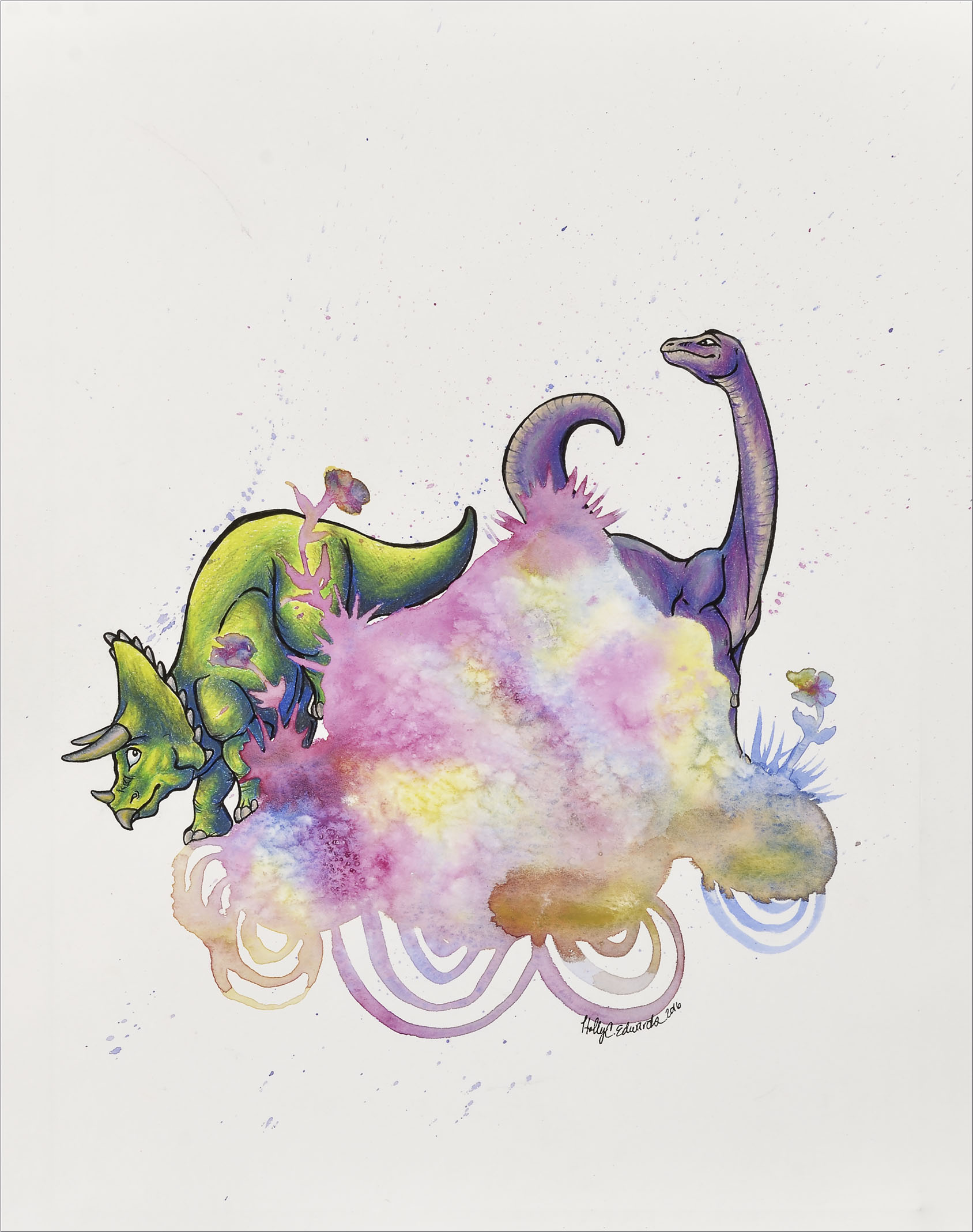 Land Before Time- Watercolor and Colored Pencil, Available
