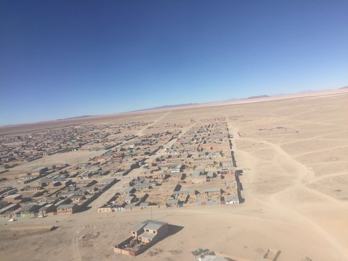 "The ""Lego town"" of Uyuni as seen from the plane"