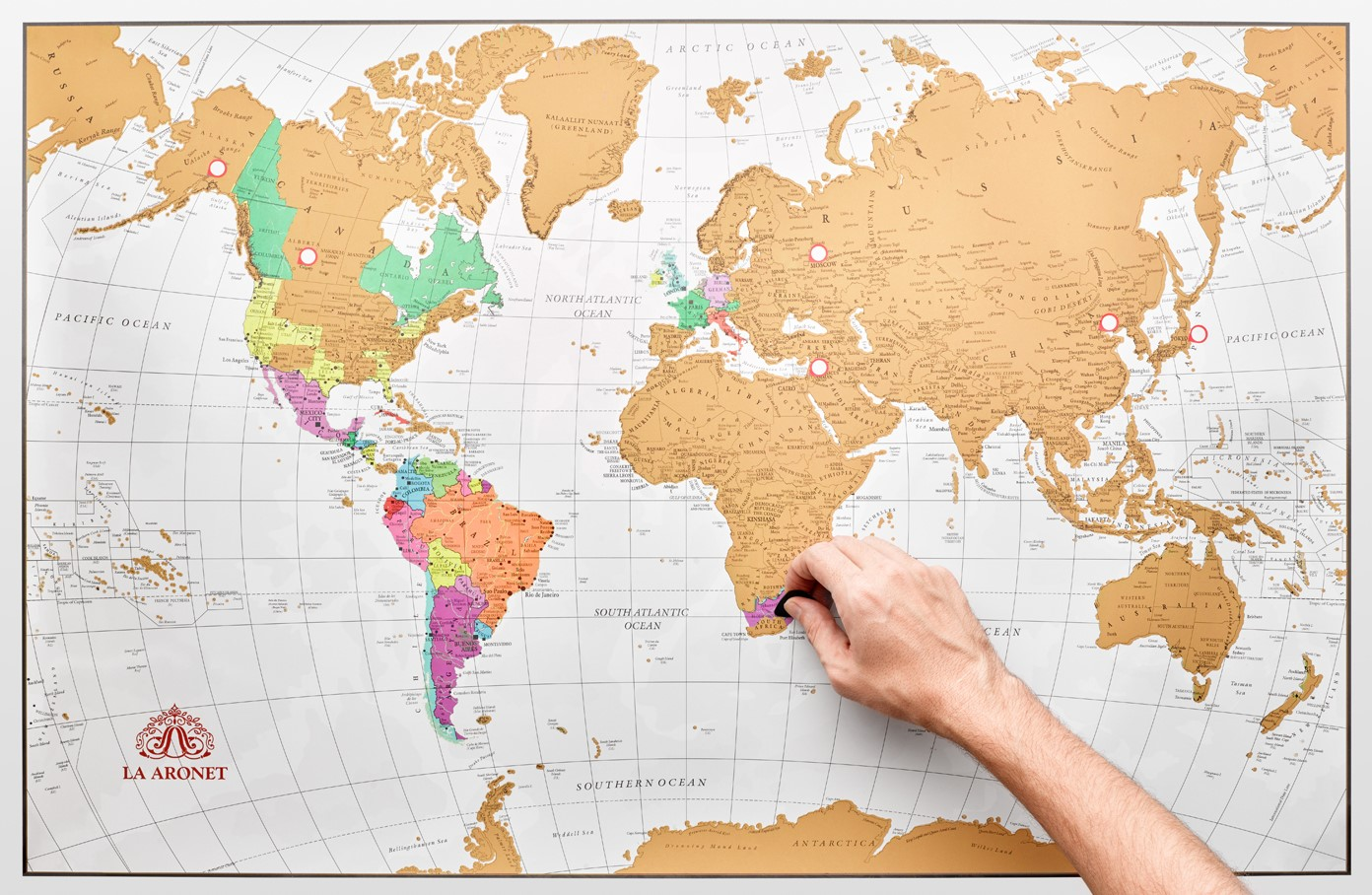 GOTTA SCRATCH 'EM ALL! - Turn your travel into vibrant art. Vacations make for great memories. But now they also make for great art! Our elegant LA ARONET Scratch Off World Map comes with elegant gold foil on vibrant, detailed countries bordered by crisp, white oceans. It makes for the perfect memory and the perfect accent on any wall!
