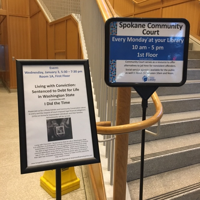 Our sign at the Spokane Public Library, January 2018.