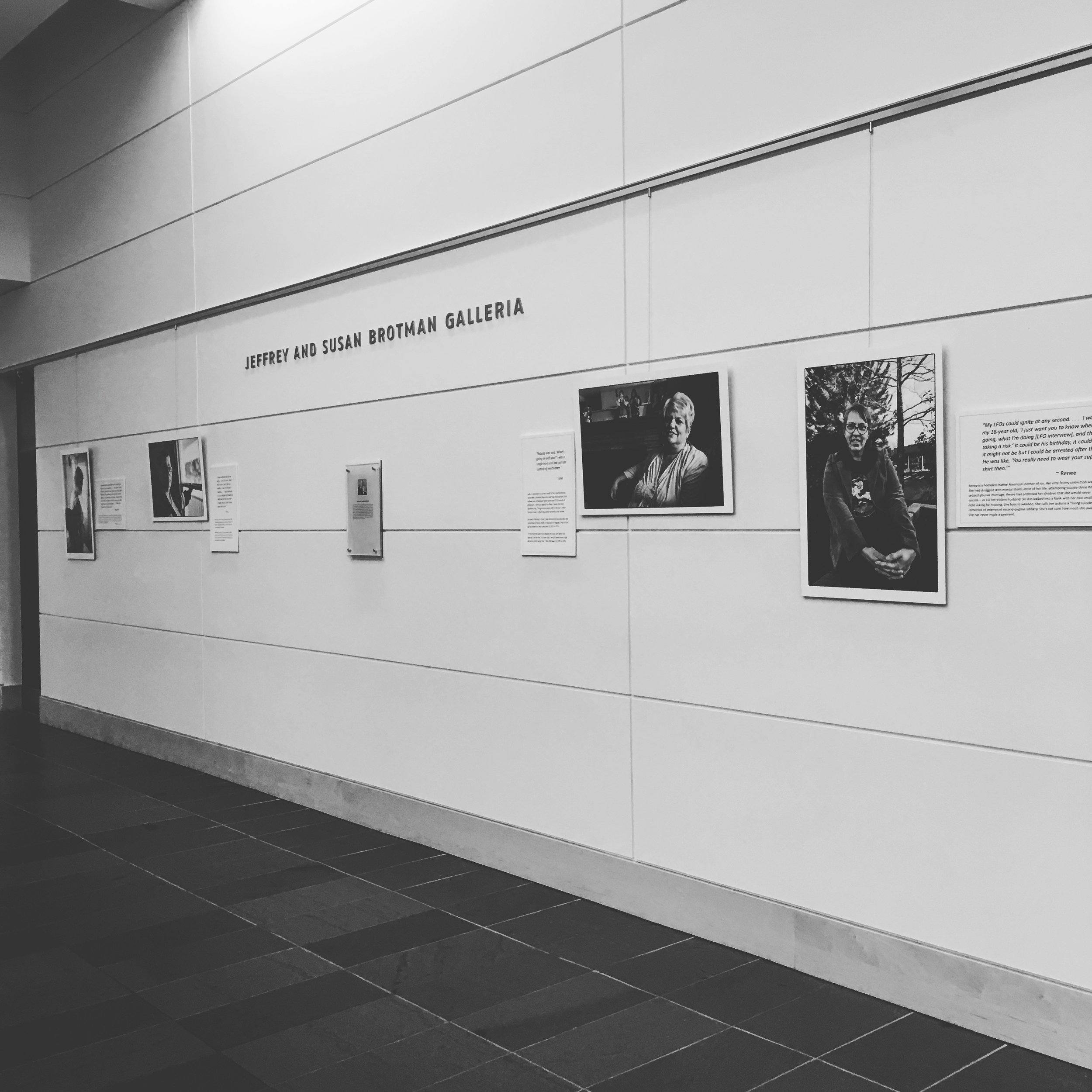 Our three-month exhibit at the Brotman Galeria at the University of Washington School of Law.