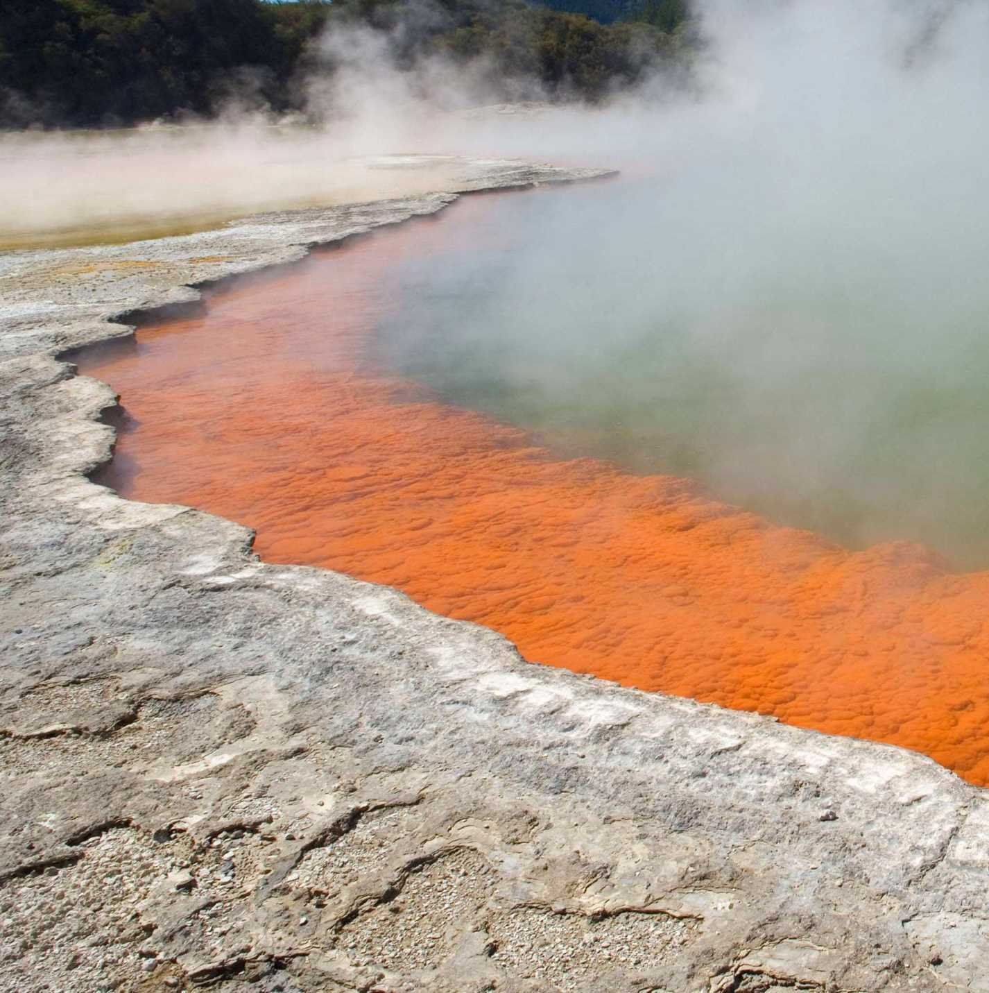 Champagne Pool at Waiotapu. The orange precipitate on the subaqueous sinter shelf is a combination of crystalline and amorphous arsenic and antimony sulphides, sulphur and microorganisms.