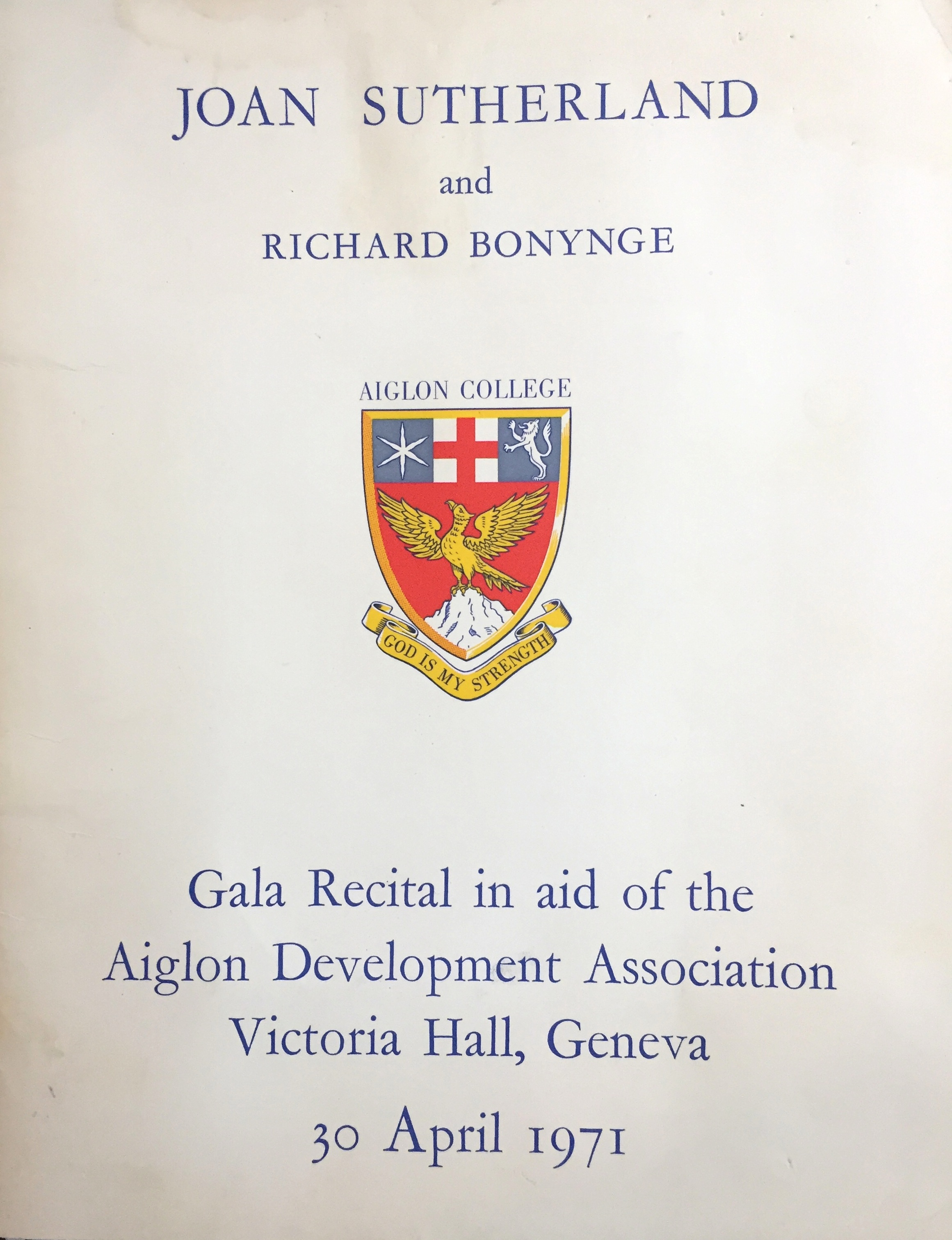 The 1971 Sutherland-Bonynge Geneva Gala Rccital program cover.