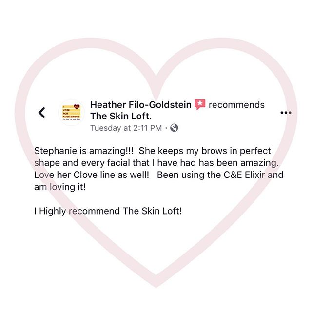 Reading reviews like this remind me why I love what I do 💕Making people look and more importantly feel good! Thanks Heather! #review #skincare #brows #dayspareview #clientlove #theskinloft