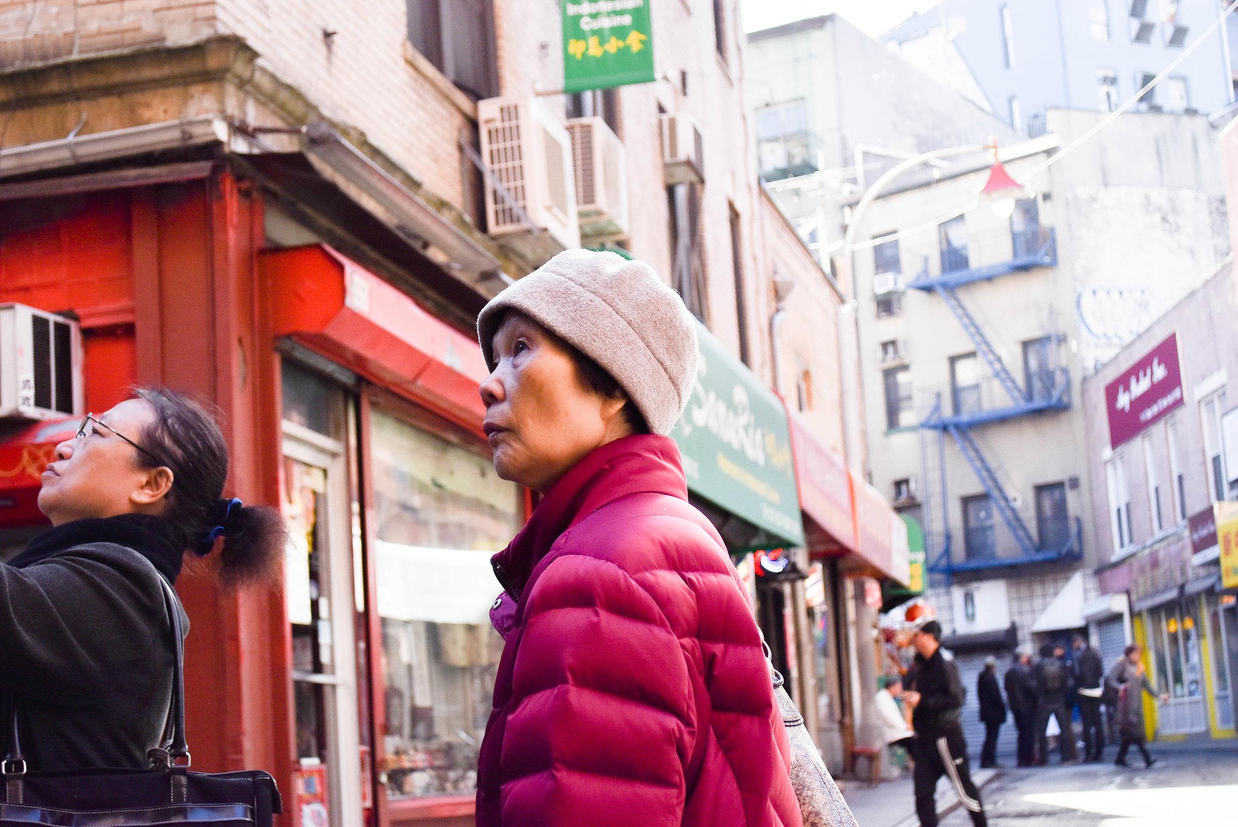 Senior in Pink Jacket, Chinatown, NYC - Nov 2016