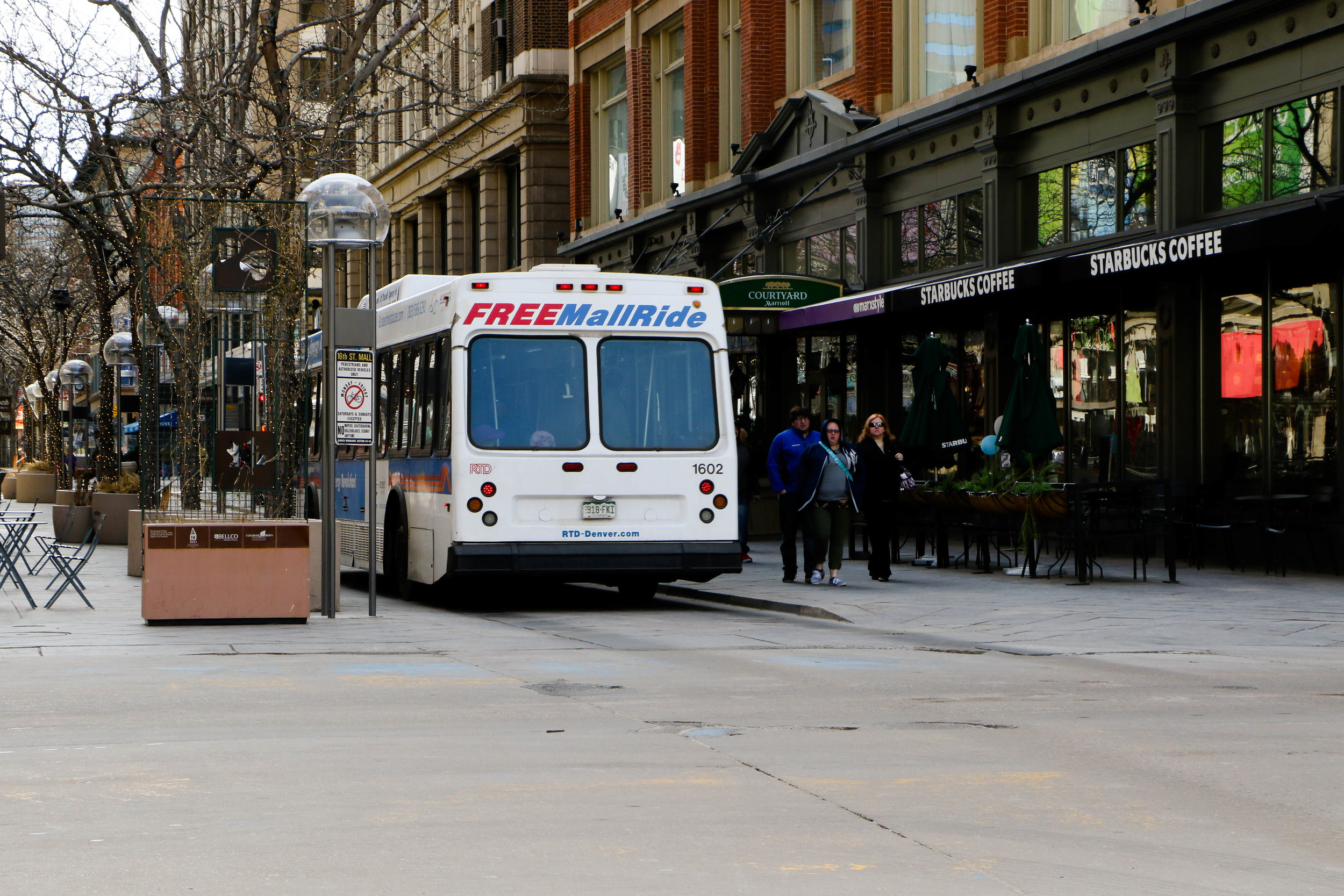The Free MailRide Shuttle Bus down 16th Street Mall
