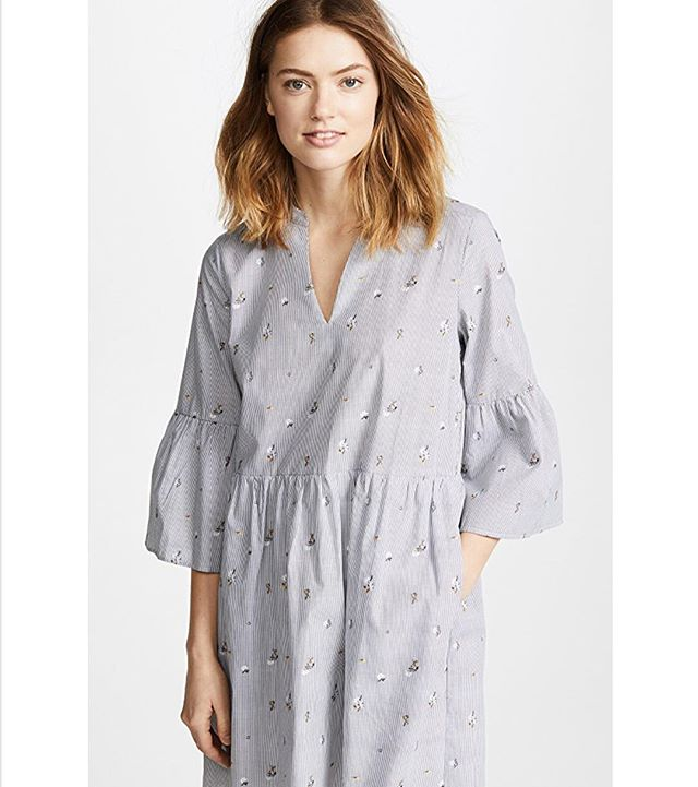 Another shot from @shopbop of our Suze dress... again POCKETS!!! The easiest transition dress into spring #pocketsinmydress #cooperandella #shirtdress #springfashion #dress #stripes #floral
