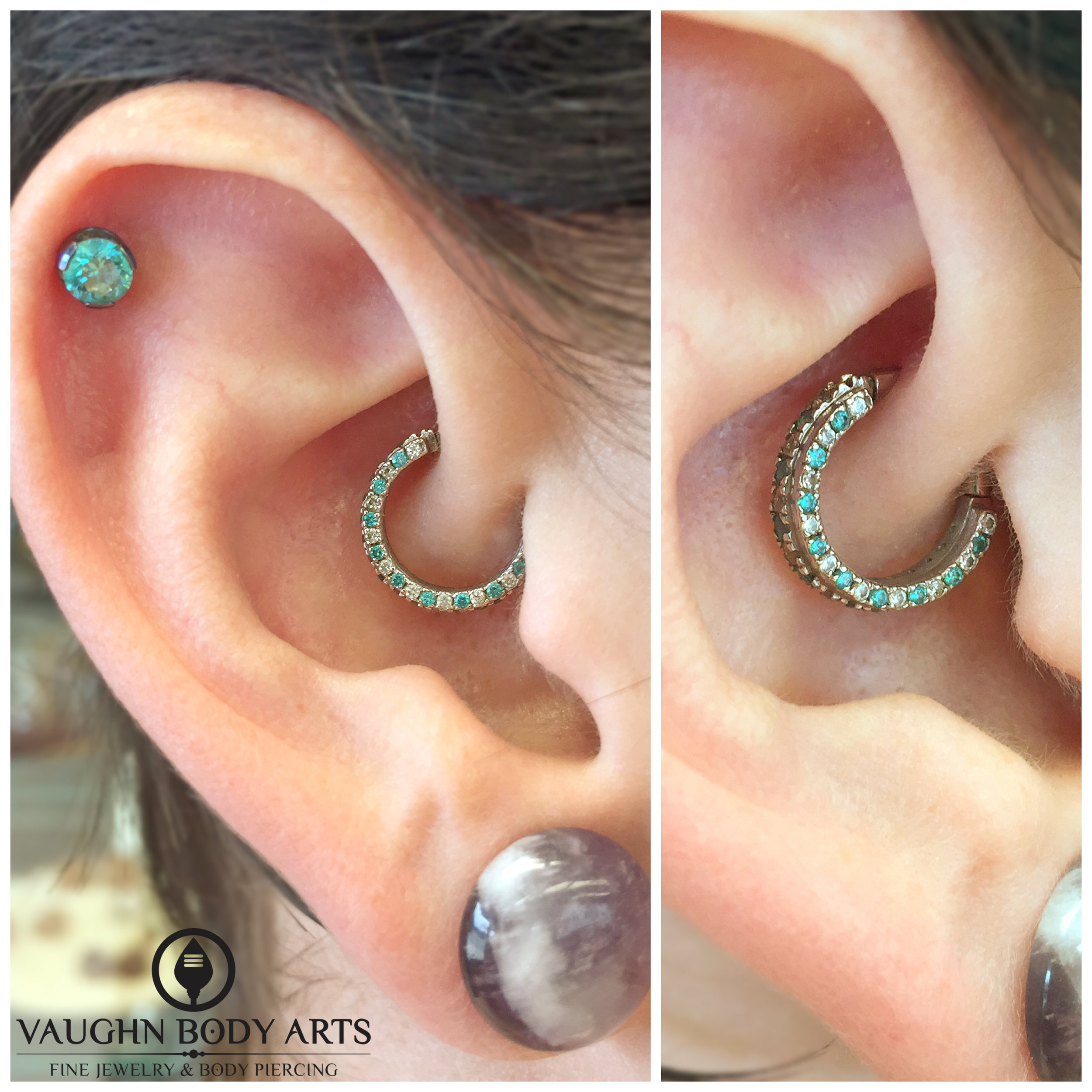 """Healed daith piercing featuring a 14k white gold """"Telesto Mandalay"""" hinged ring with mint green and CZ gemstones."""