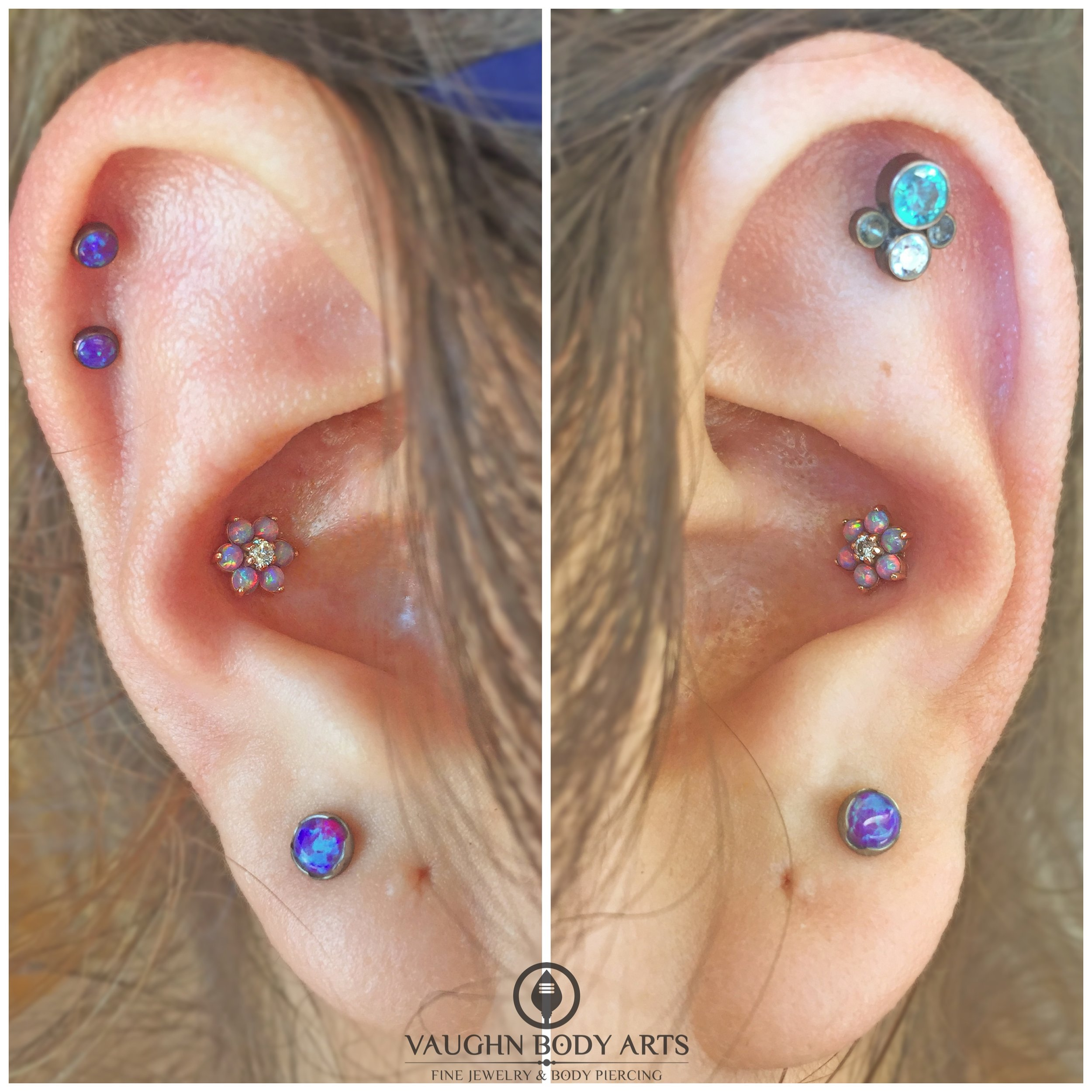 Conch piercings featuring an 18k rose gold flowers from Anatometal.