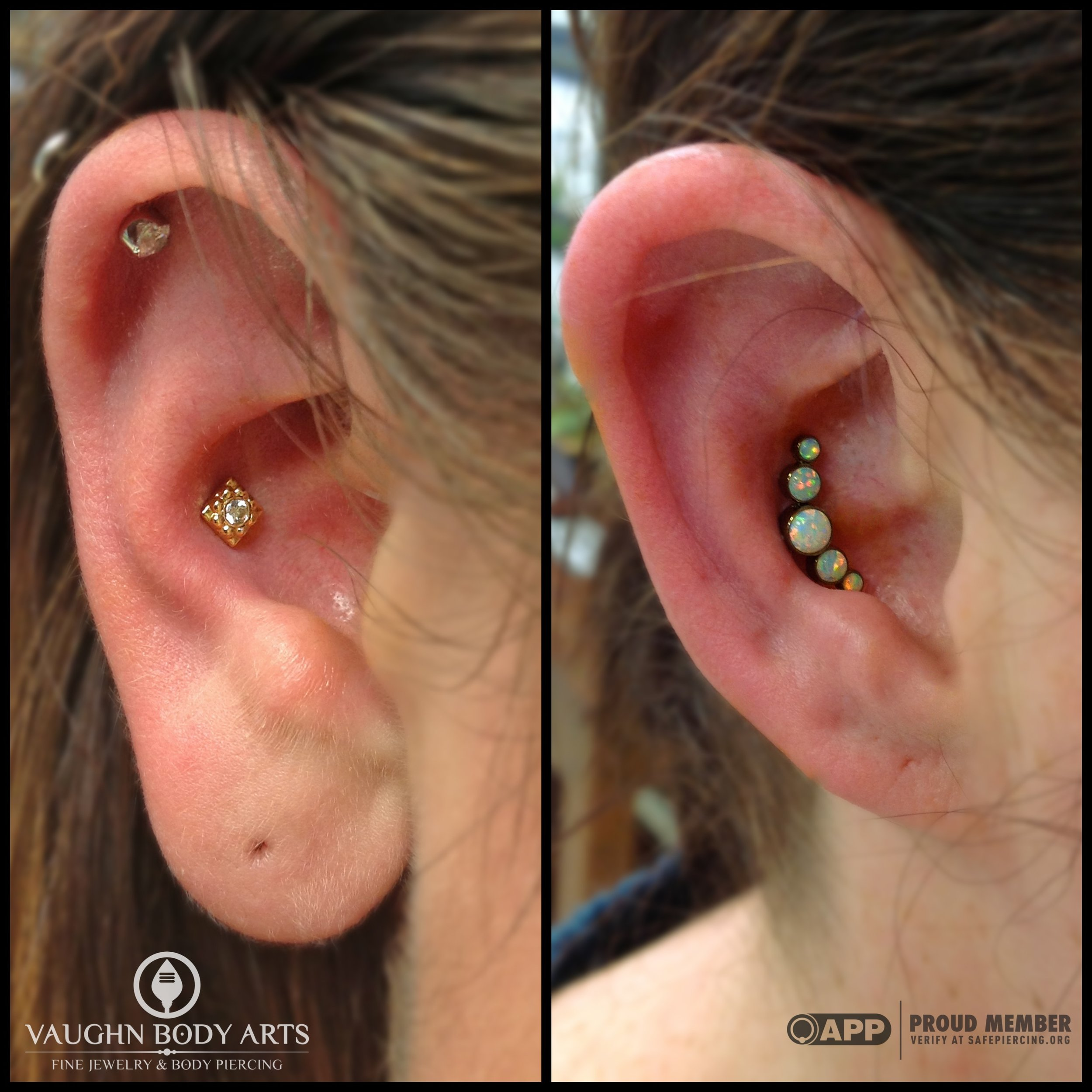 """Friendship piercings! On the left: 18k yellow gold """"Kira"""" end.On the right: titanium gem cluster anodized """"copper"""". Jewelry from Anatometal."""