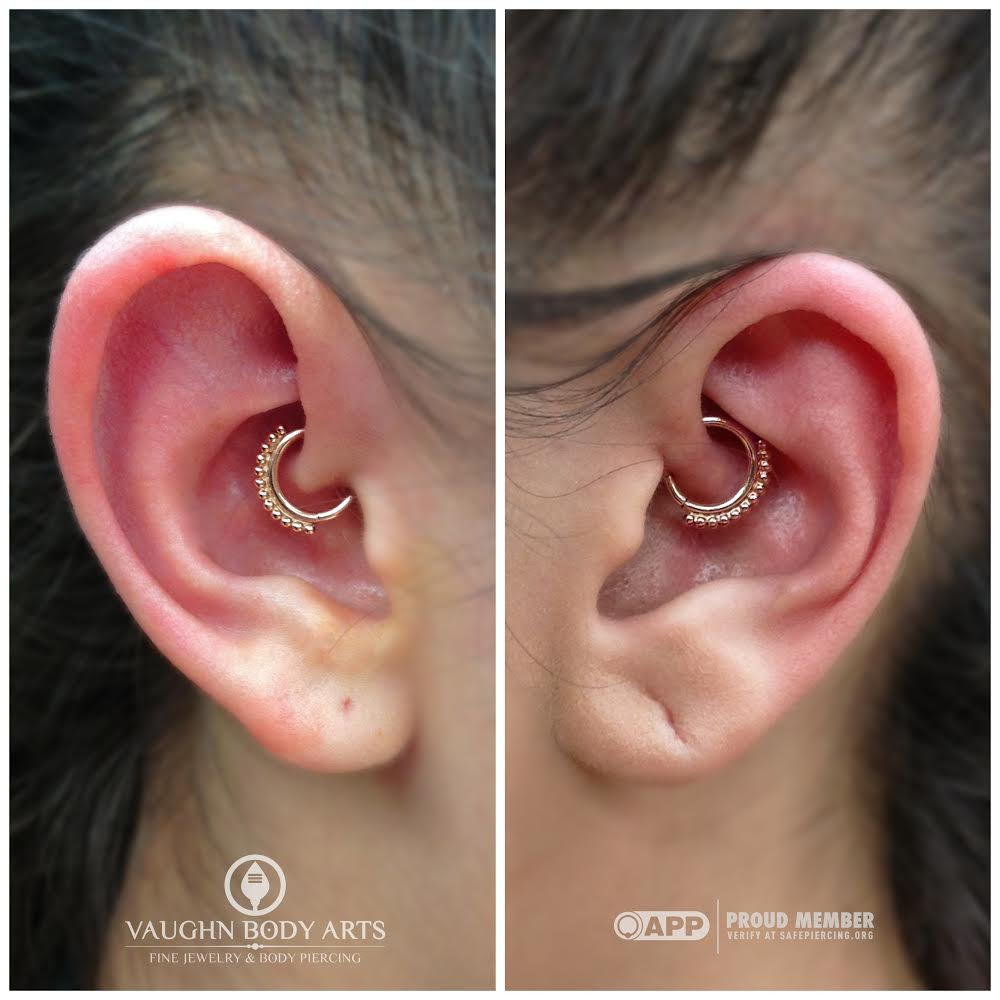 """Matching best friend daith piercings! 14k yellow and rose gold """"Latchmi"""" rings from BVLA."""